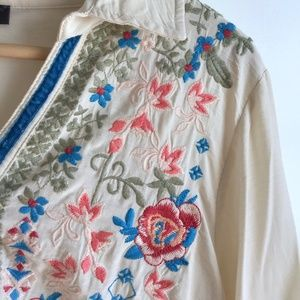 Embroidered Lightweight Tunic Button Up Blouse